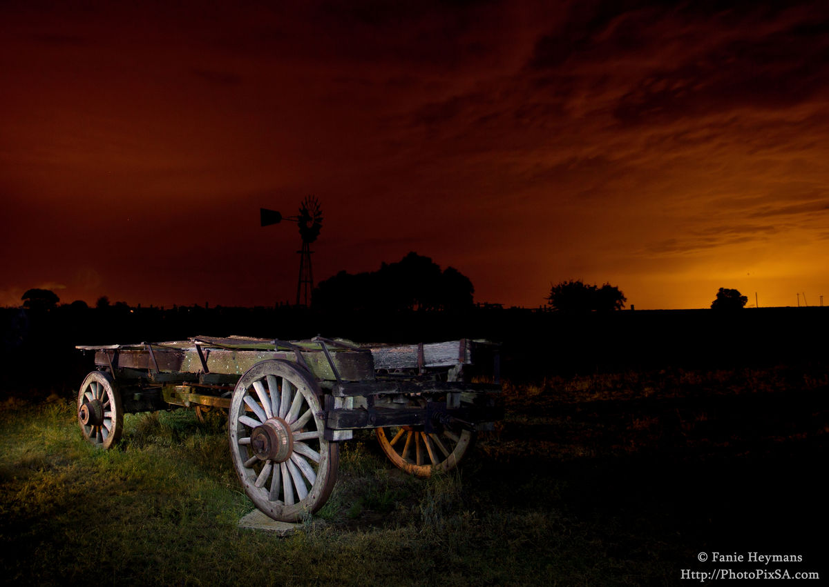 Old Ox Wagon with African Sunset